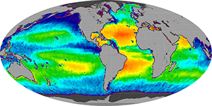 Global sea surface salinity, July 2014