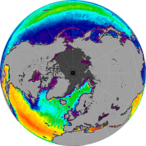 Sea surface salinity in the Northern Hemisphere, July 2014