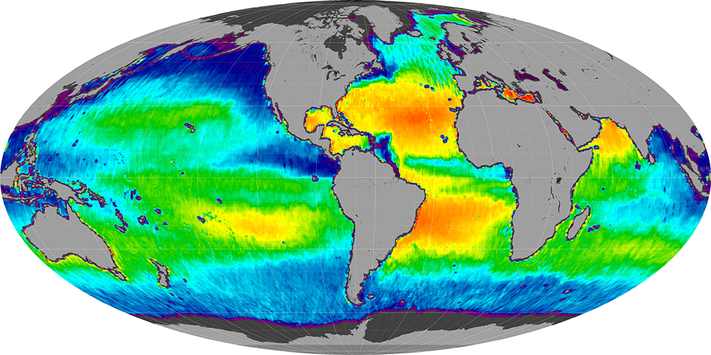 Sea surface salinity, June 2012