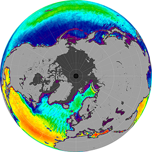 Sea surface salinity in the Northern Hemisphere, June 2012