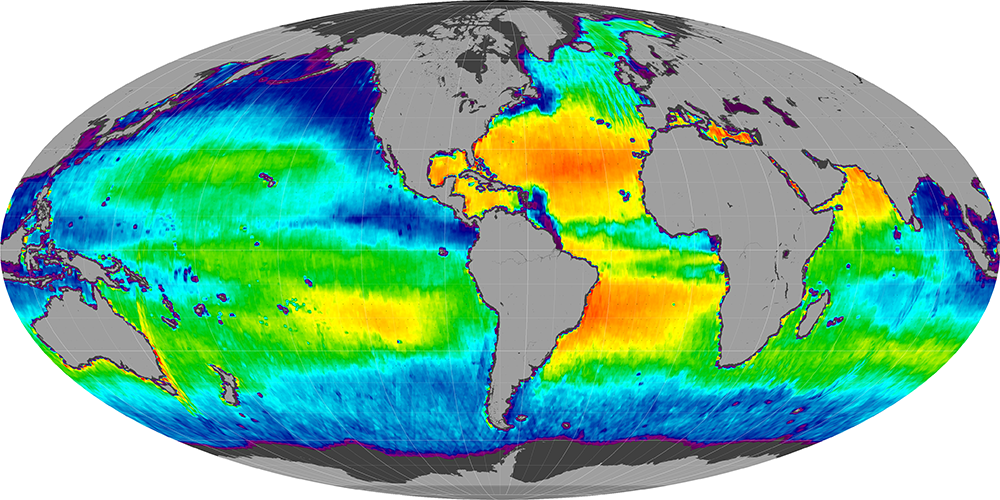 Sea surface salinity, June 2013