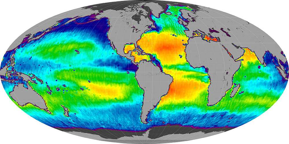 Sea surface salinity, June 2014