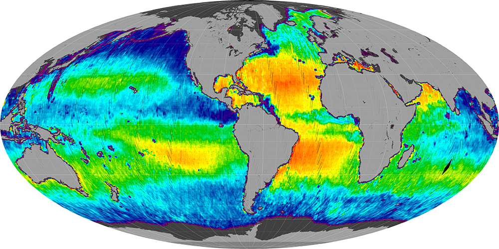 Sea surface salinity, June 2015