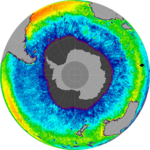 Sea surface salinity in the Southern Hemisphere, June 2015