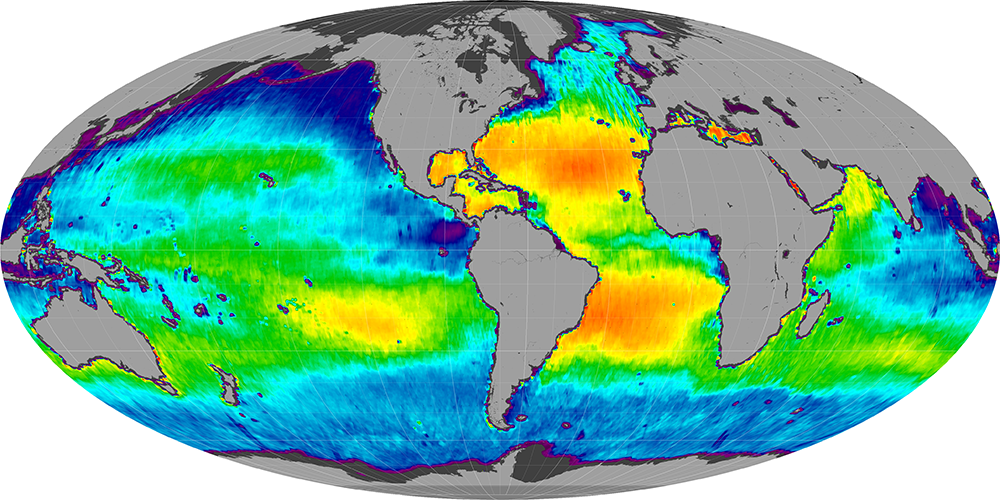 Sea surface salinity, March 2012