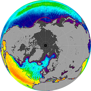 Sea surface salinity in the Northern Hemisphere, March 2013