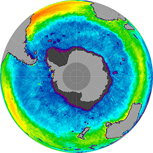 Sea surface salinity in the Southern Hemisphere, March 2013