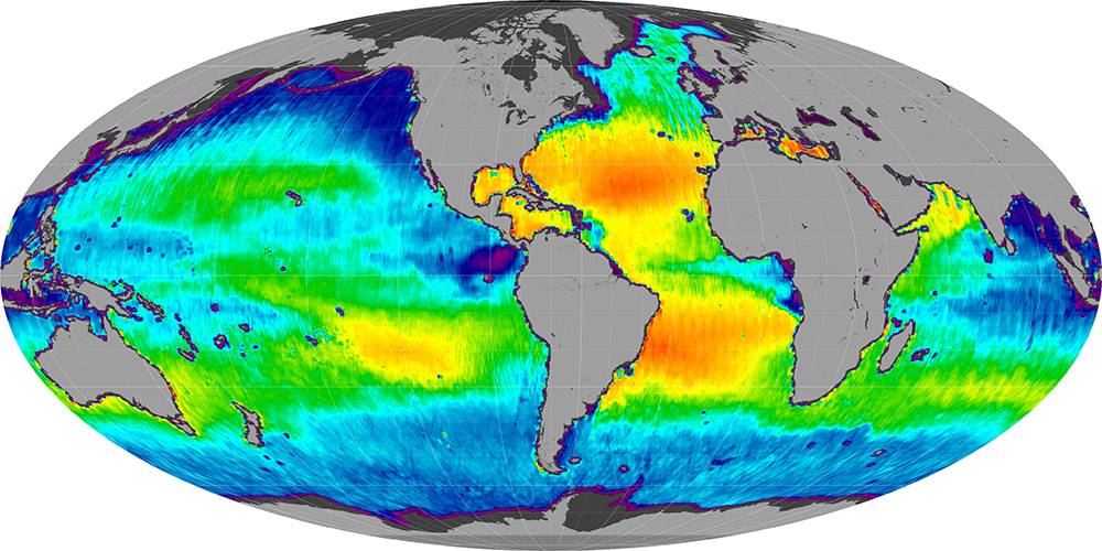 Sea surface salinity, March 2014