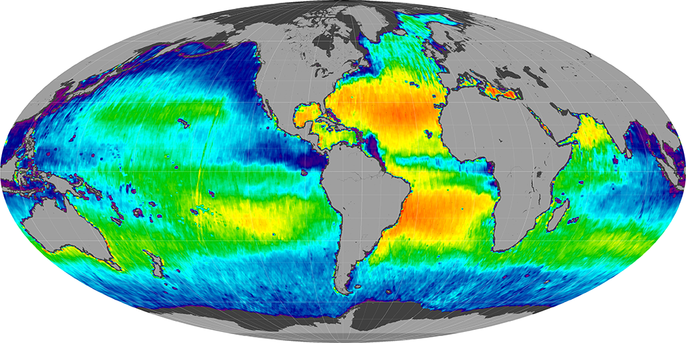 Sea surface salinity, May 2012