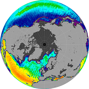 Sea surface salinity in the Northern Hemisphere, May 2012