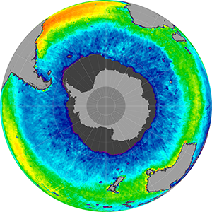 Sea surface salinity in the Southern Hemisphere, May 2012