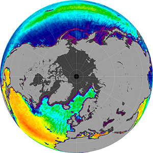 Sea surface salinity in the Northern Hemisphere, May 2015