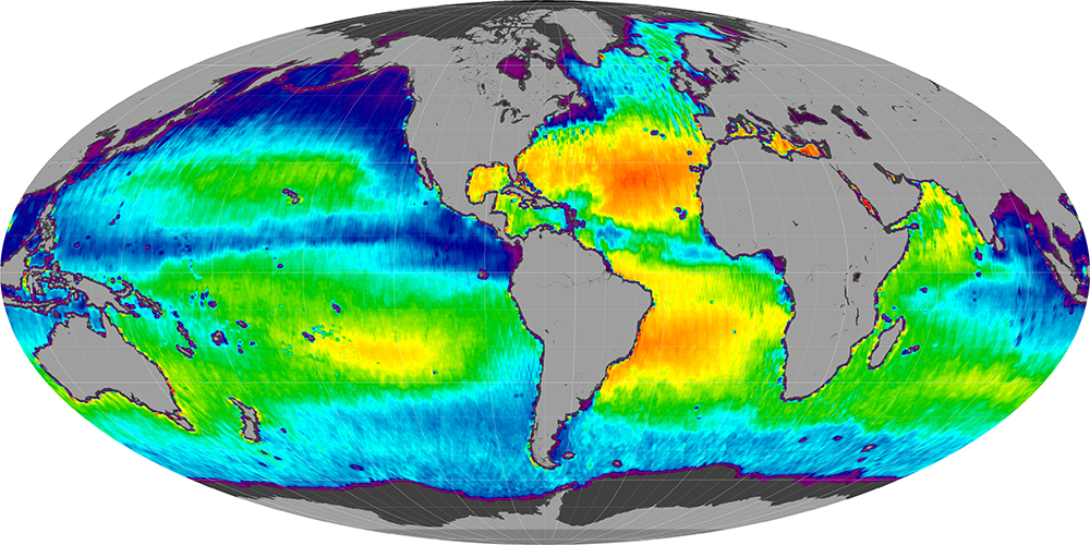 Sea surface salinity, November 2011
