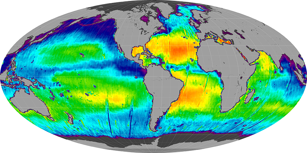 Sea surface salinity, November 2012