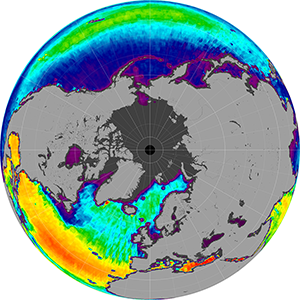 Sea surface salinity in the Northern Hemisphere, November 2014