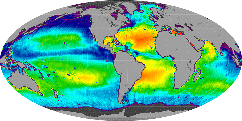 Sea surface salinity, October 2011