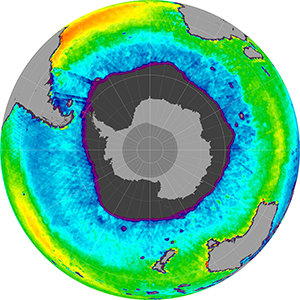 Sea surface salinity in the Southern Hemisphere, October 2011
