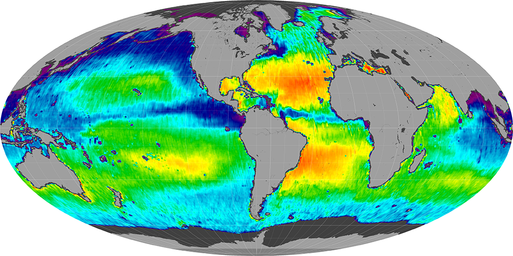 Sea surface salinity, October 2012