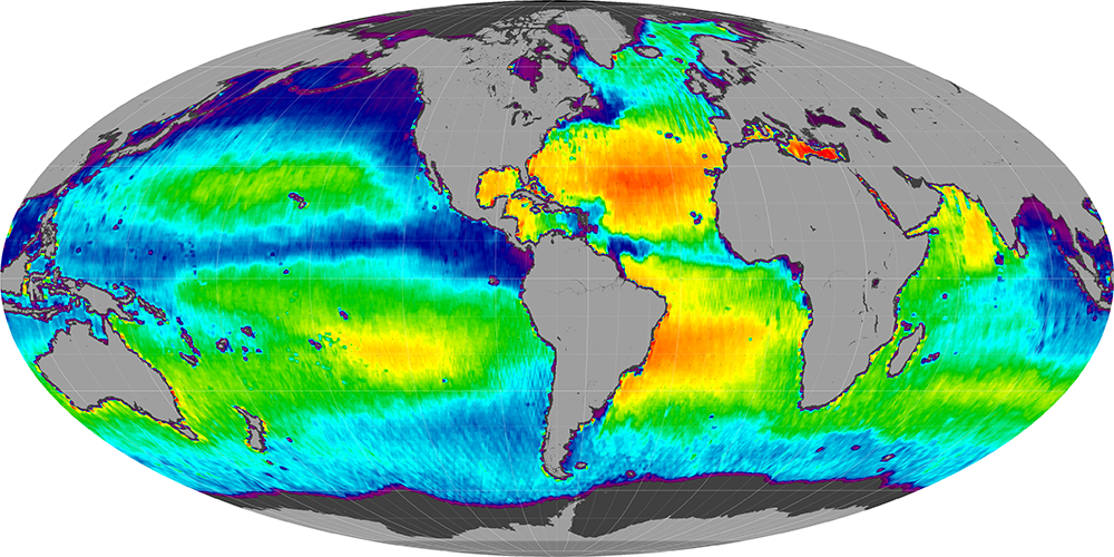 Sea surface salinity, October 2014