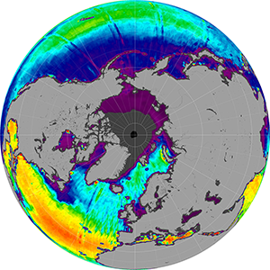 Sea surface salinity in the Northern Hemisphere, September 2012