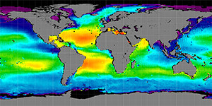 Global sea surface salinity, 2012