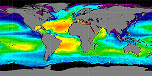 Global sea surface salinity, Autumn 2011
