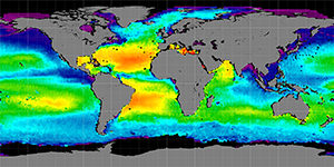 Global sea surface salinity, Autumn 2012