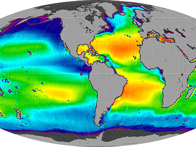 Global sea surface salinity, 25-Aug-11 to 05-May-15 (Mollweide, descending)