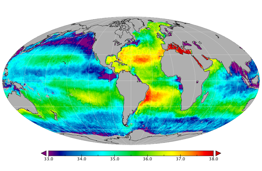 Sea surface salinity, April 2015