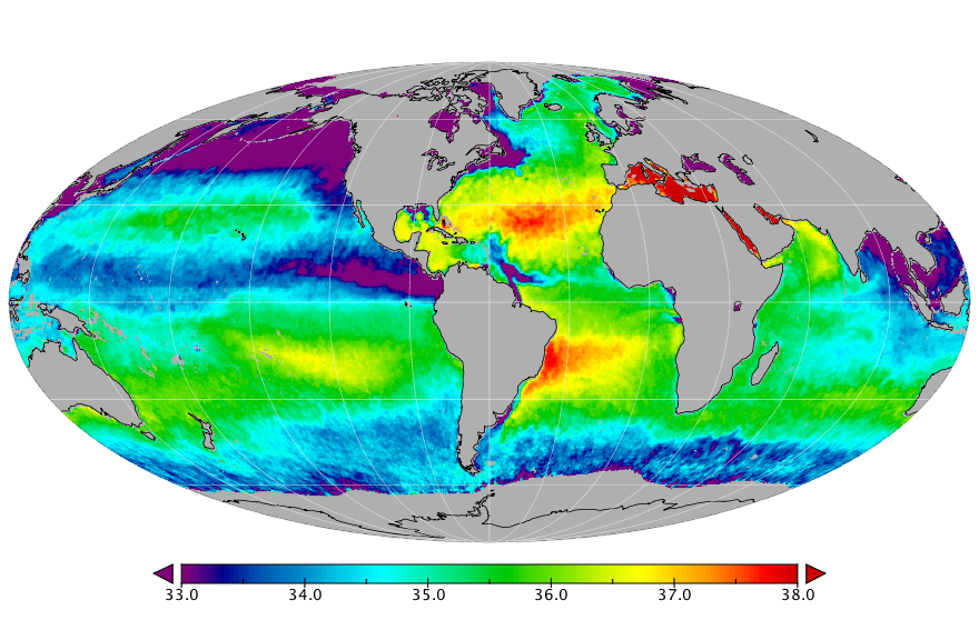 Sea surface salinity, August 2015