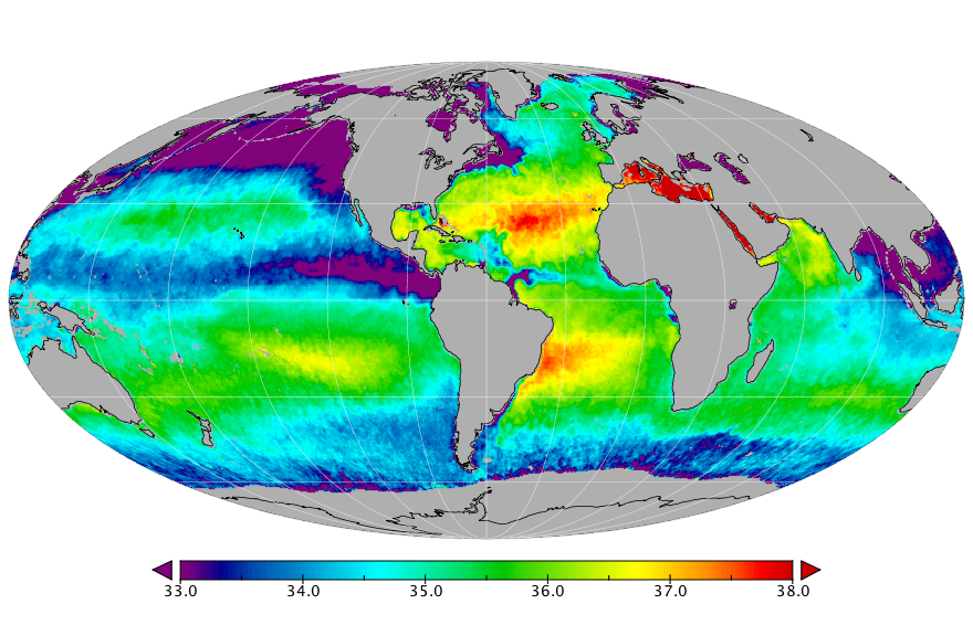 Sea surface salinity, September 2015