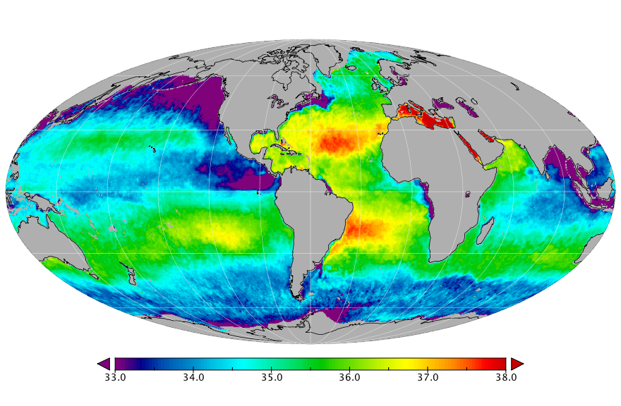 Sea surface salinity, February 2016