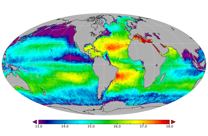 Sea surface salinity, June 2016