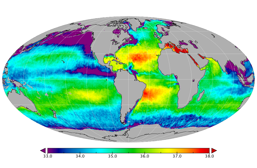 Sea surface salinity, July 2016