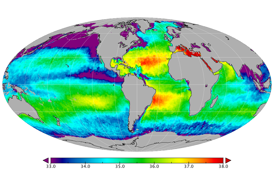 Sea surface salinity, August 2016