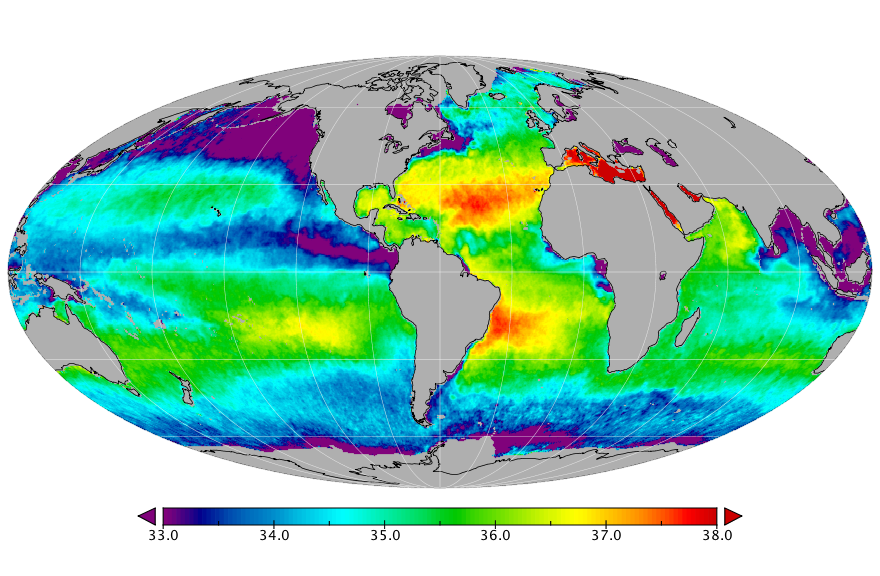Sea surface salinity, December 2016