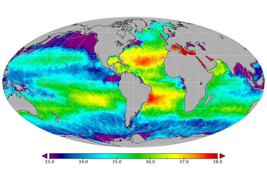 Sea surface salinity, February 2017