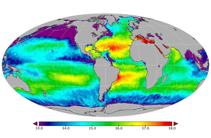 Sea surface salinity, July 2017
