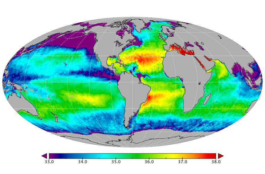 Sea surface salinity, August 2017