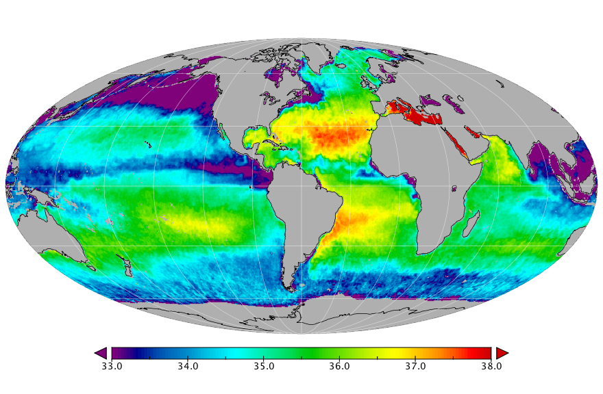 Sea surface salinity, November 2017