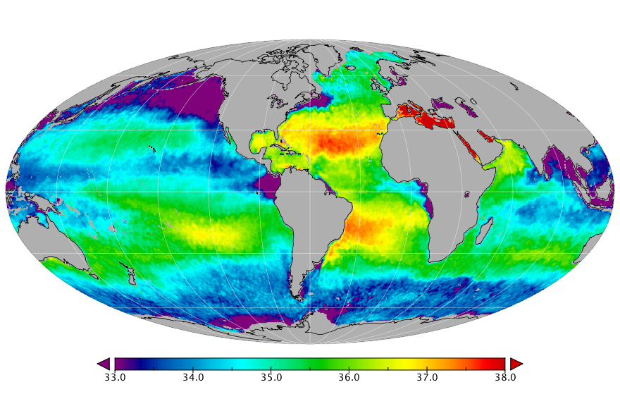 Sea surface salinity, February 2018
