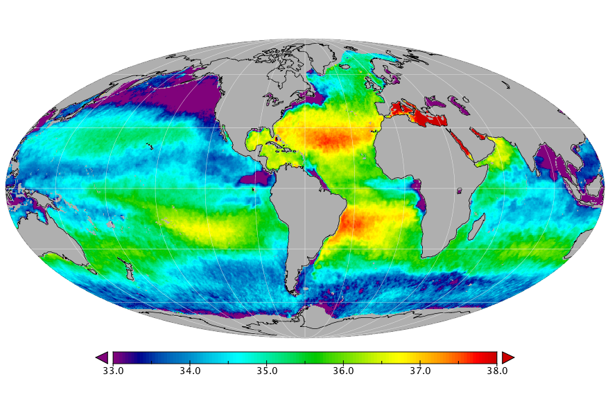 Sea surface salinity, April 2018