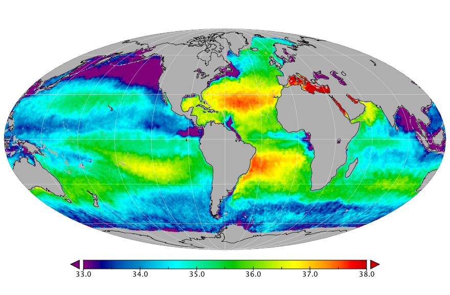 Sea surface salinity, May 2018