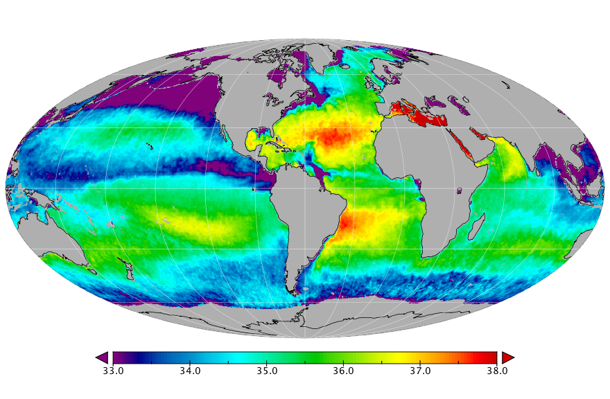 Sea surface salinity, August 2018