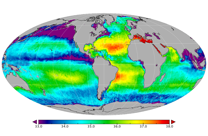 Sea surface salinity, November 2018