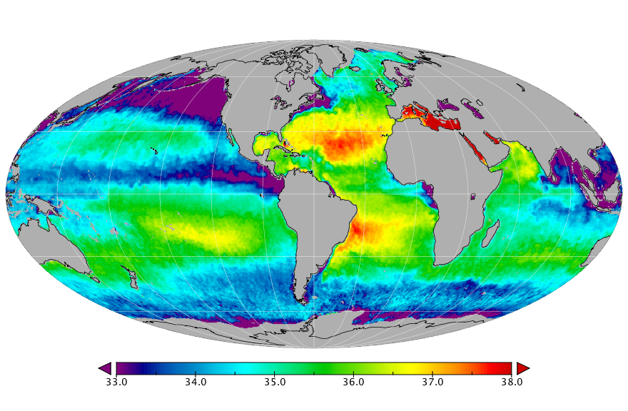 Sea surface salinity, December 2018