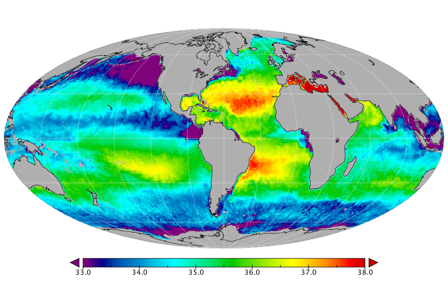 Sea surface salinity, January 2019
