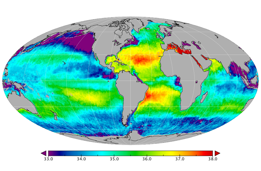 Sea surface salinity, April 2019