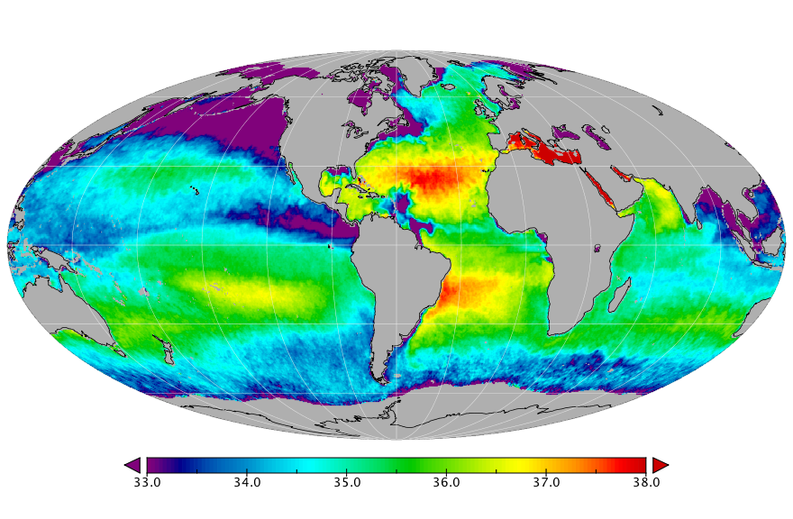 Sea surface salinity, August 2019