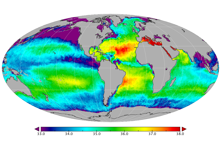 Sea surface salinity, October 2019